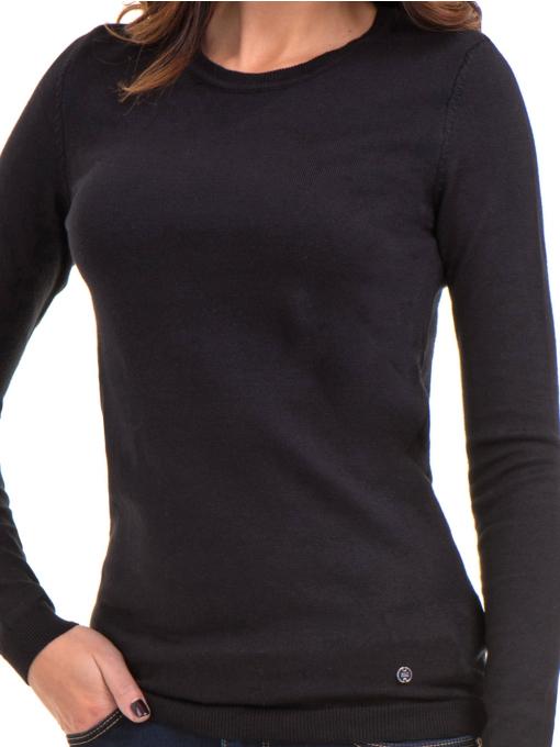 Черна дамска блуза с обло деколте 148 INDIGO Fashion