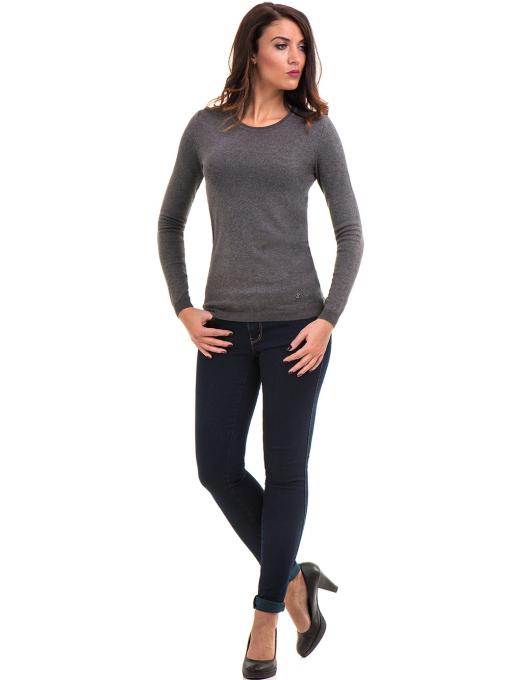 Сива дамска блуза с обло деколте 148 INDIGO Fashion