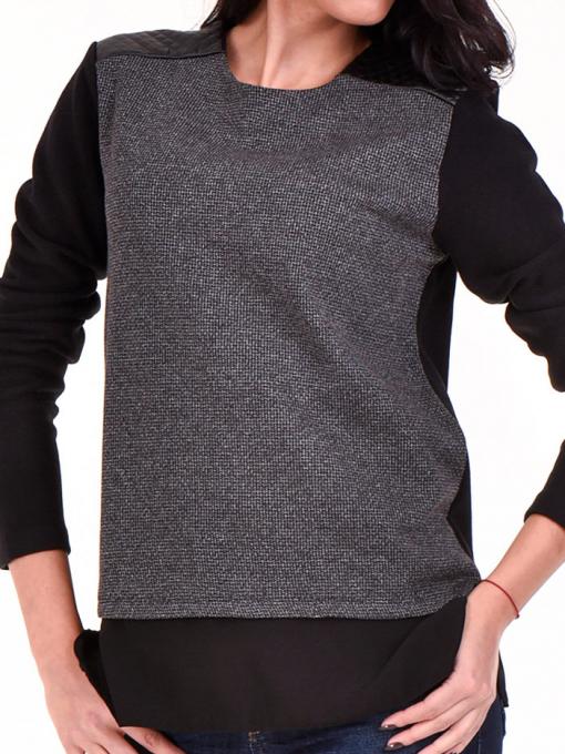 Дамска блуза свободен модел XINT 148A - черна D