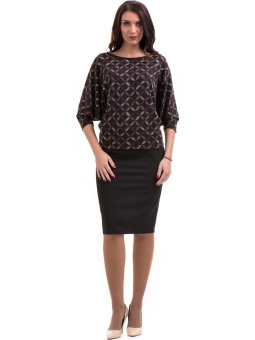 Дамска блуза  с флорални мотиви XINT 155 - цвят антрацит C