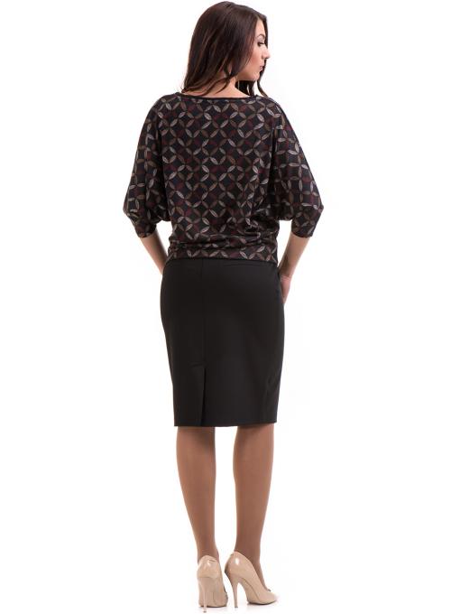 Дамска блуза  с флорални мотиви XINT 155 - цвят антрацит E