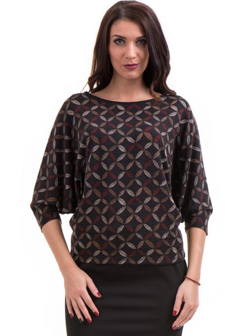 Дамска блуза  с флорални мотиви XINT 155 - цвят антрацит