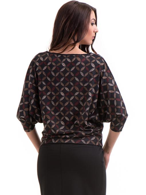 Дамска блуза  с флорални мотиви XINT 155 - цвят антрацит B