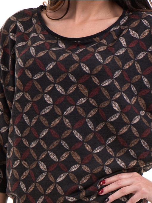 Дамска блуза  с флорални мотиви XINT 155 - цвят антрацит D