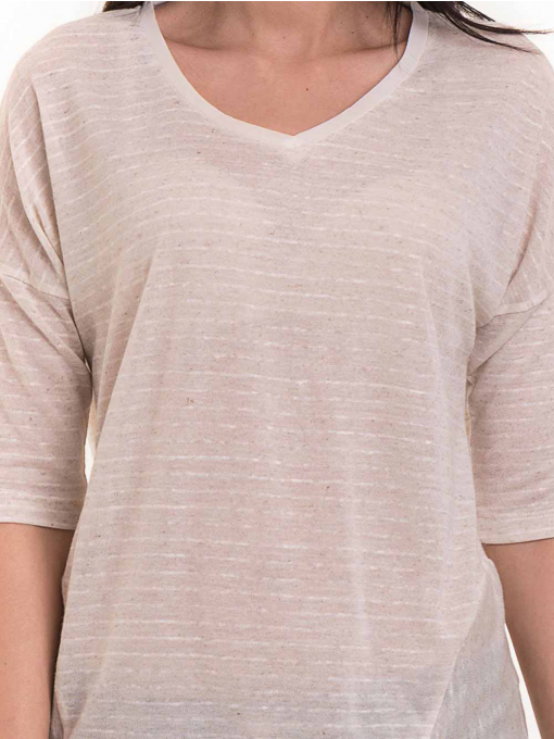 Дамска блуза свободен модел XINT 200 - светло бежова D