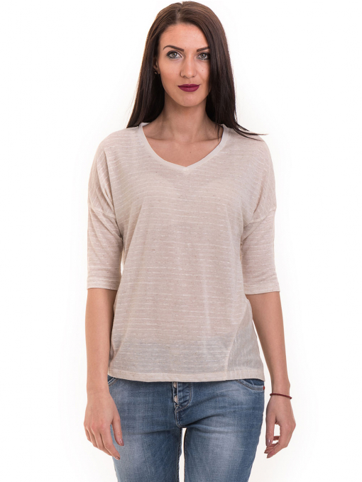 Дамска блуза свободен модел XINT 200 - светло бежова