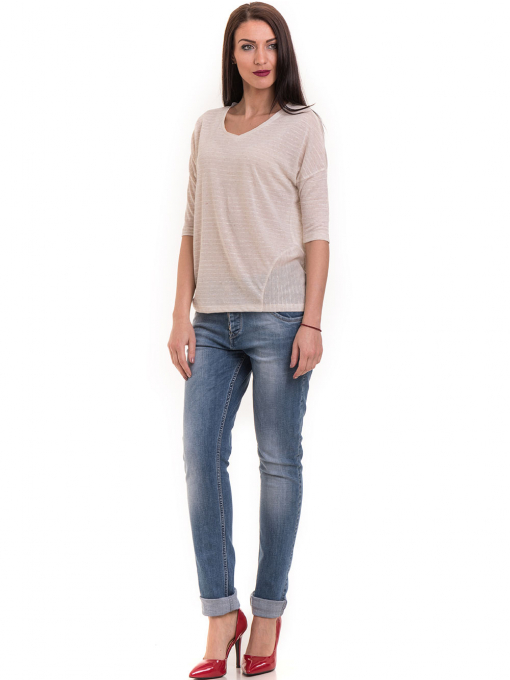 Дамска блуза свободен модел XINT 200 - светло бежова C