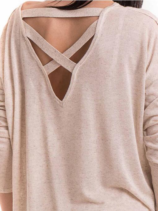 Дамска блуза свободен модел XINT 301- светло бежова D