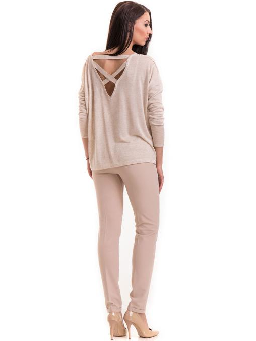 Дамска блуза свободен модел XINT 301- светло бежова E