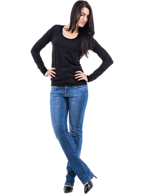 Дамска блуза с овално деколте XINT 462 - черна C