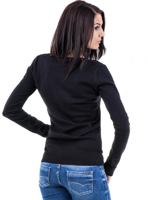 Дамска блуза с овално деколте XINT 462 - черна B