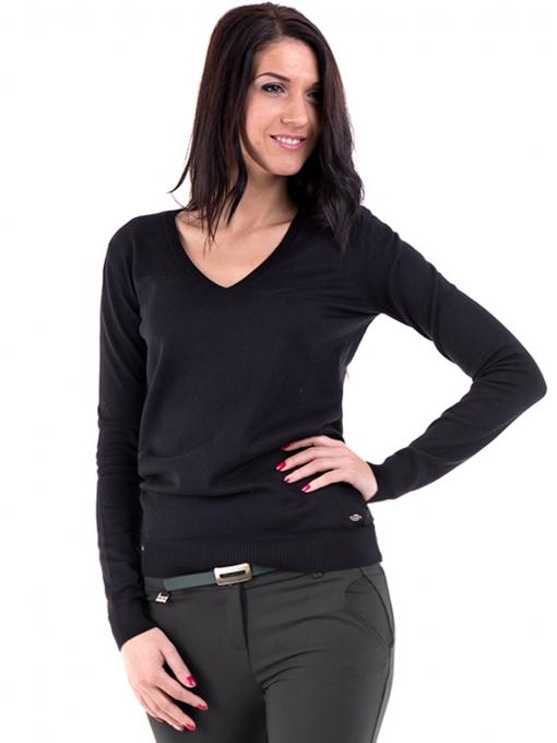 Дамска блуза с V-образно деколте XINT 464 - черна