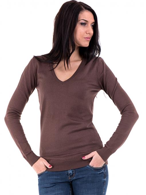 Дамска блуза с V-образно деколте XINT 464 - кафява
