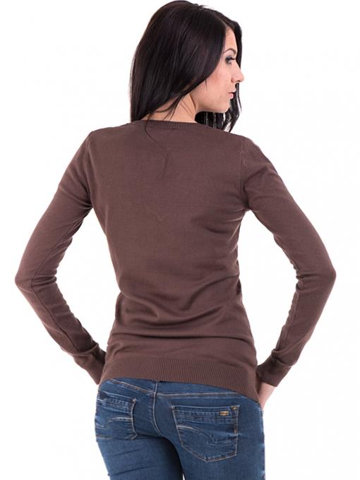 Дамска блуза с V-образно деколте XINT 464 - кафява B