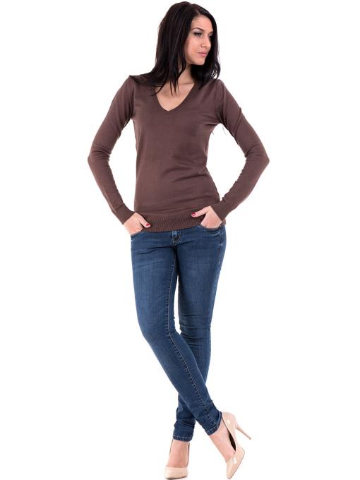 Дамска блуза с V-образно деколте XINT 464 - кафява C