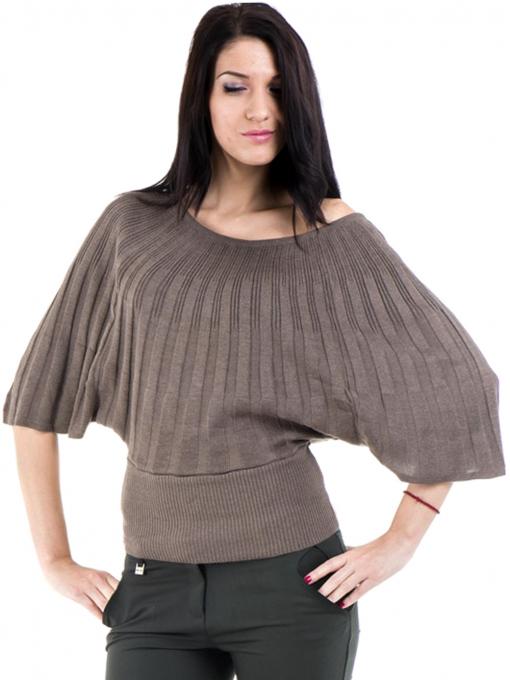 Дамска блуза XINT с 3/4-ти прилеп ръкав 661- цвят кафяв