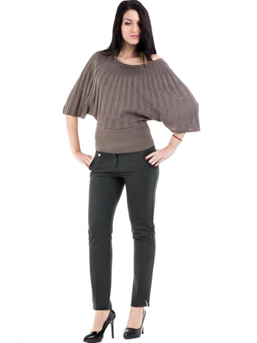 Дамска блуза XINT с 3/4-ти прилеп ръкав 661- цвят кафяв C