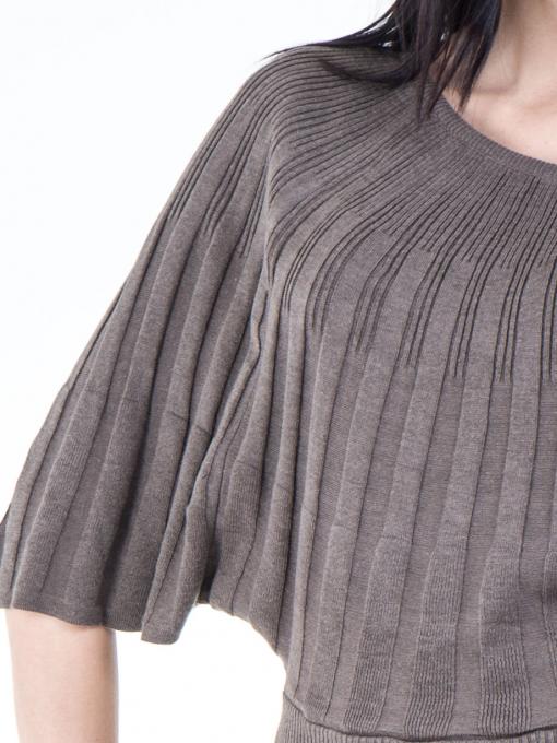 Дамска блуза XINT с 3/4-ти прилеп ръкав 661- цвят кафяв D