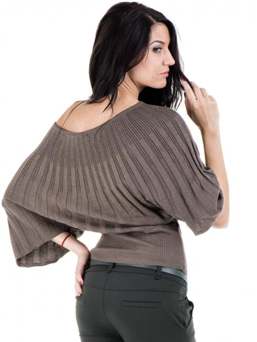 Дамска блуза XINT с 3/4-ти прилеп ръкав 661- цвят кафяв B