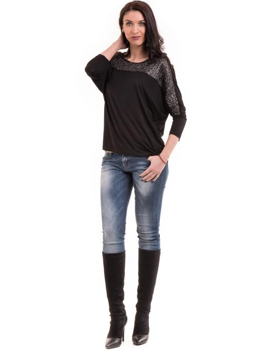 Дамска блуза с прилеп ръкав XINT 685 - черна C