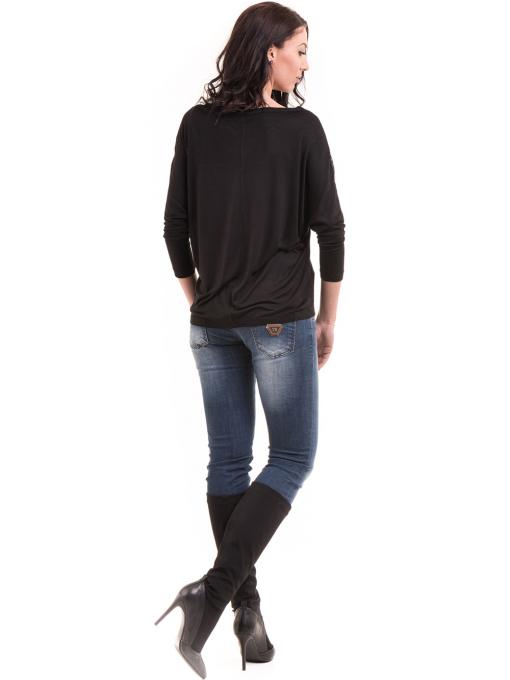 Дамска блуза с прилеп ръкав XINT 685 - черна E