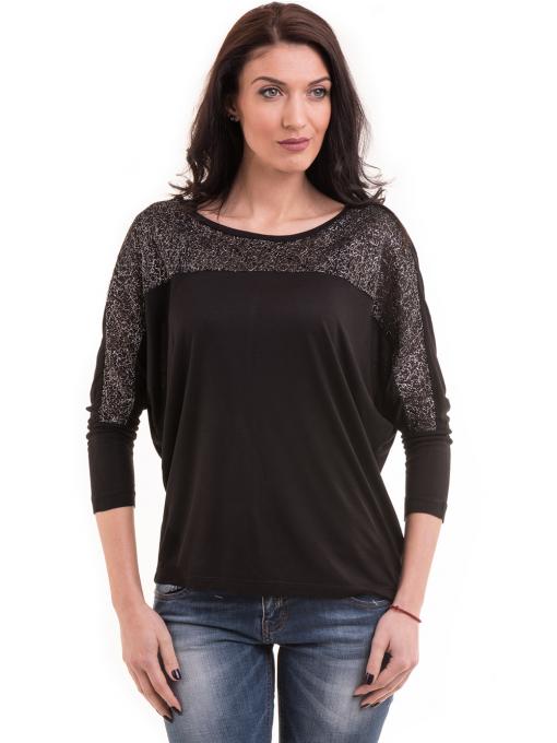 Дамска блуза с прилеп ръкав XINT 685 - черна