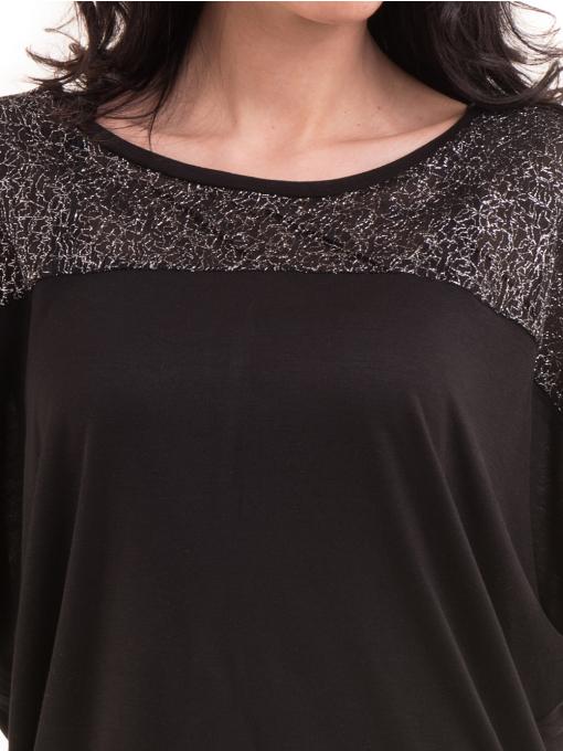 Дамска блуза с прилеп ръкав XINT 685 - черна D