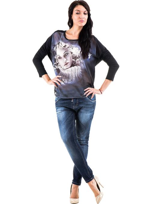Дамска блуза  с овално деколте XINT 699 - черна C