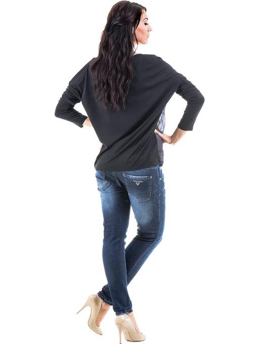 Дамска блуза  с овално деколте XINT 699 - черна E