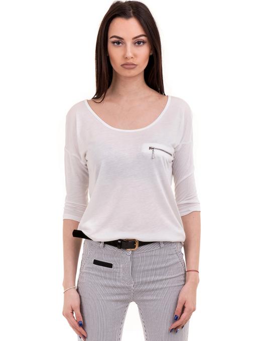 Дамска блуза XINT свободен модел 728 - бяла