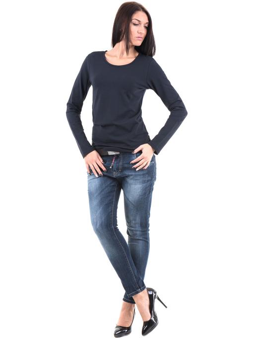 Дамска вталена блуза XINT 852 - тъмно синя C