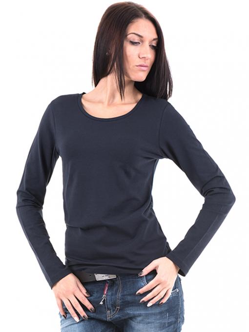 Дамска вталена блуза XINT 852 - тъмно синя