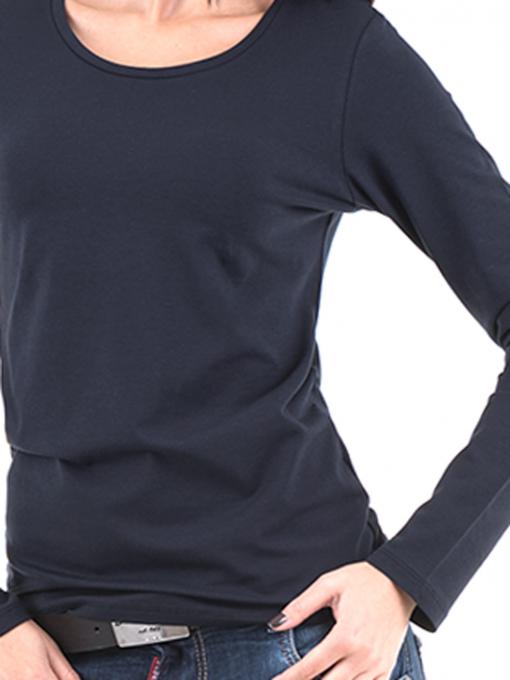 Дамска вталена блуза XINT 852 - тъмно синя D