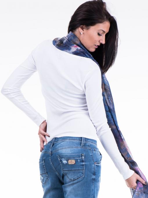 Дамска блуза с овално деколте XINT 853 - бяла B