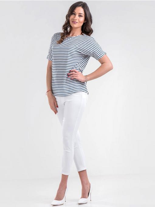 Дамска синя блуза на райе 4174 INDIGO Fashion