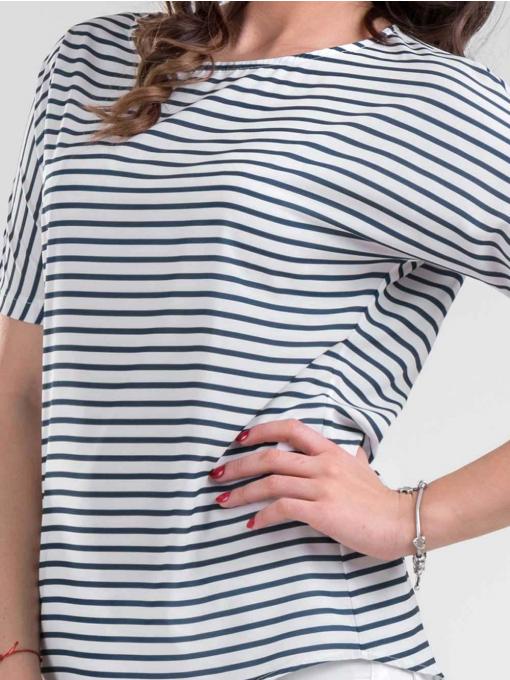 Дамска сива блуза на райе 4174 INDIGO Fashion