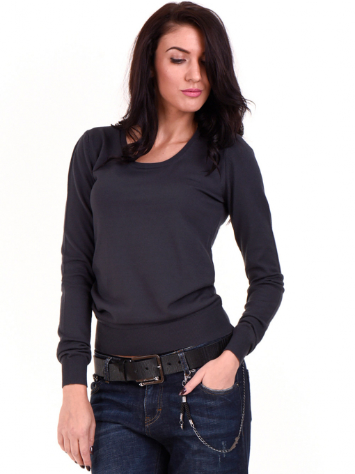 Дамска блуза  STAMINA с овално деколте 1302 - цвят антрацит