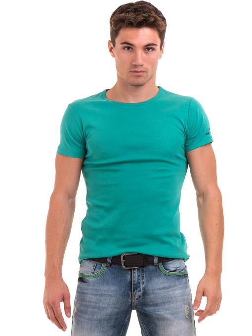 Мъжка памучна блуза с къс ръкав  MCL 23687 - зелена