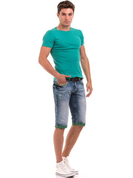 Мъжка памучна блуза с къс ръкав  MCL 23687 - зелена C