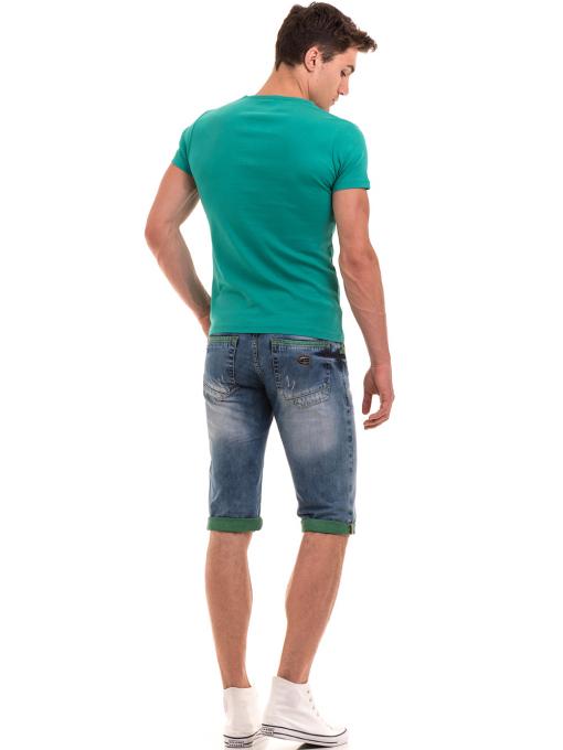 Мъжка памучна блуза с къс ръкав  MCL 23687 - зелена E