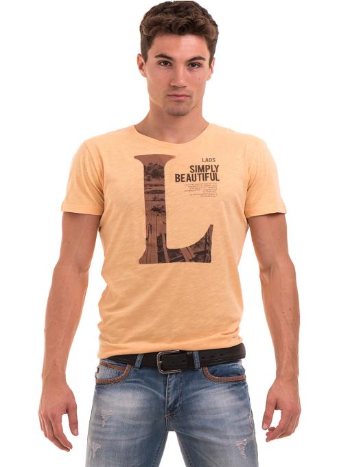 Мъжка блуза с щампа  MCL 23838 - цвят горчица