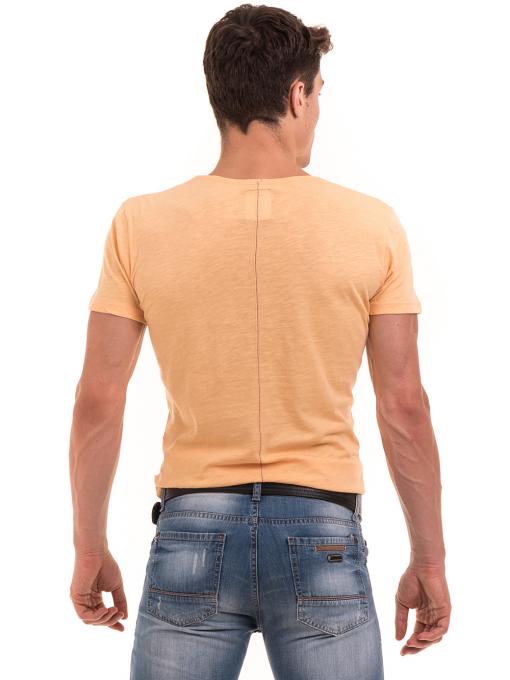Мъжка блуза с щампа  MCL 23838 - цвят горчица B