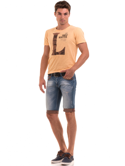 Мъжка блуза с щампа  MCL 23838 - цвят горчица C