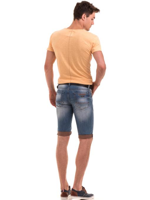 Мъжка блуза с щампа  MCL 23838 - цвят горчица E