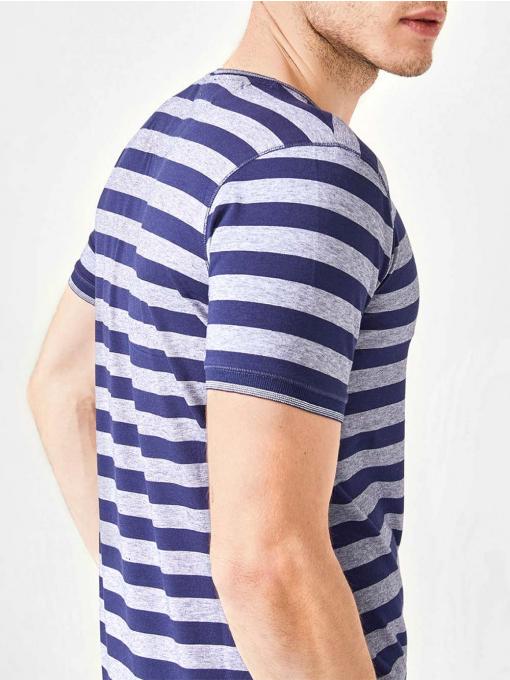 Мъжка тениска на райе - тъмносиня B29304 INDIGO Fashion