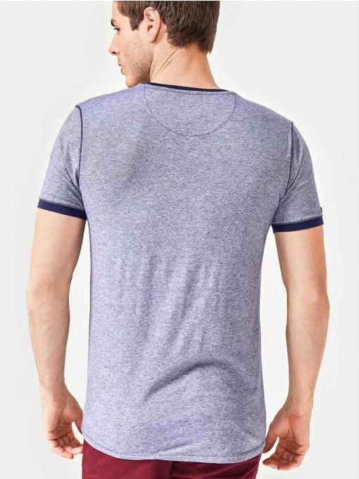 Мъжка тениска с надписи - тъмносиня B29538 INDIGO Fashion