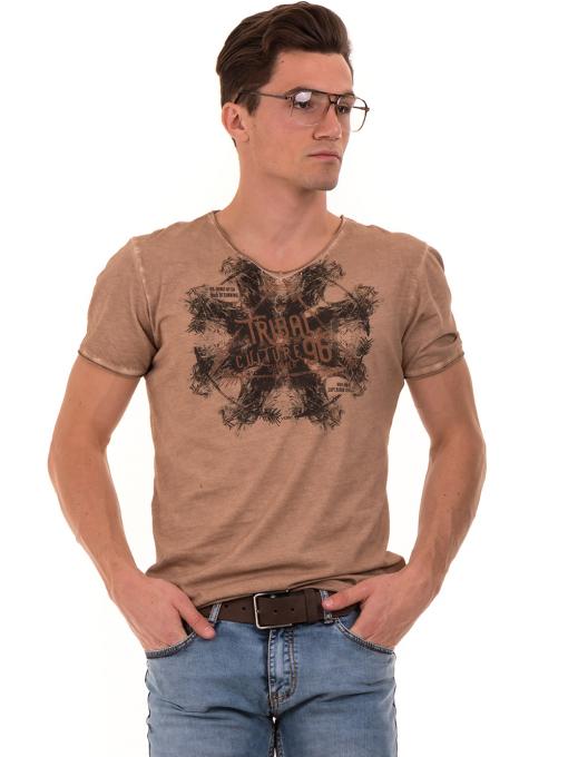 Мъжка тениска с V-образно деколте VIGOSS 60893 - тъмно бежова