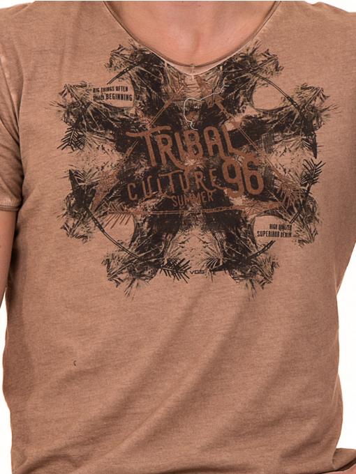 Мъжка тениска с V-образно деколте VIGOSS 60893 - тъмно бежова D