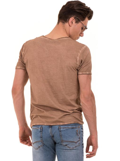 Мъжка тениска с V-образно деколте VIGOSS 60893 - тъмно бежова B