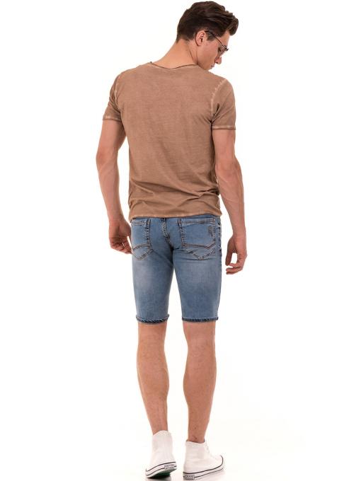 Мъжка тениска с V-образно деколте VIGOSS 60893 - тъмно бежова E